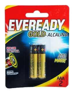 Pilha AAA Alcalina Evergold com 2 Unidades
