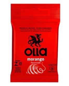 Preservativo Lubrificado e Flavorizado Olla Morango com 3 Unidades