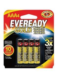 Pilha Alcalina Palito AAA Gold Eveready Com 4