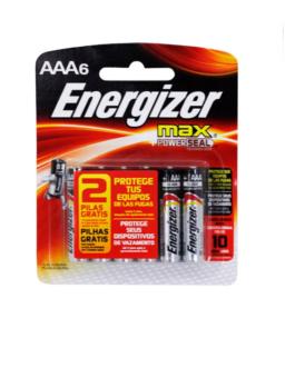 Pilha Energizer Palito AAA6 MAX com 6 Unidades