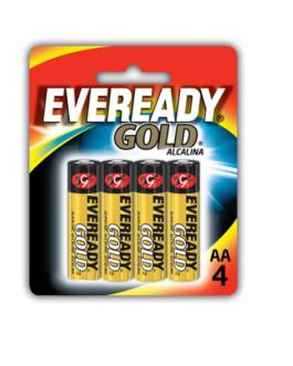Pilha Alcalina Eveready Gold AA com 4 Unidades